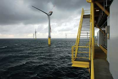 Germany's first offshore wind farm, Alpha Ventus 062.