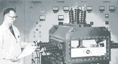 An early model SF6-insulated switch.