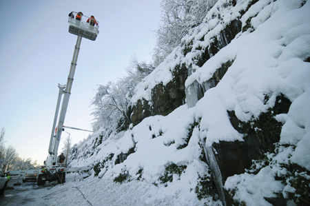 Portland General Electric (PGE) crews work to restore power during Jan. 10-13 record snow storm.