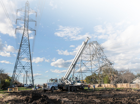 CPS Energy crews responding to transmission tower down after February tornadoes in the San Antonio area. Photo courtesy of CPS Energy