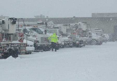 PSEG Long Island fleet before it hits road to deal with snow storm in February. Photo courtesy of PSEG Long Island