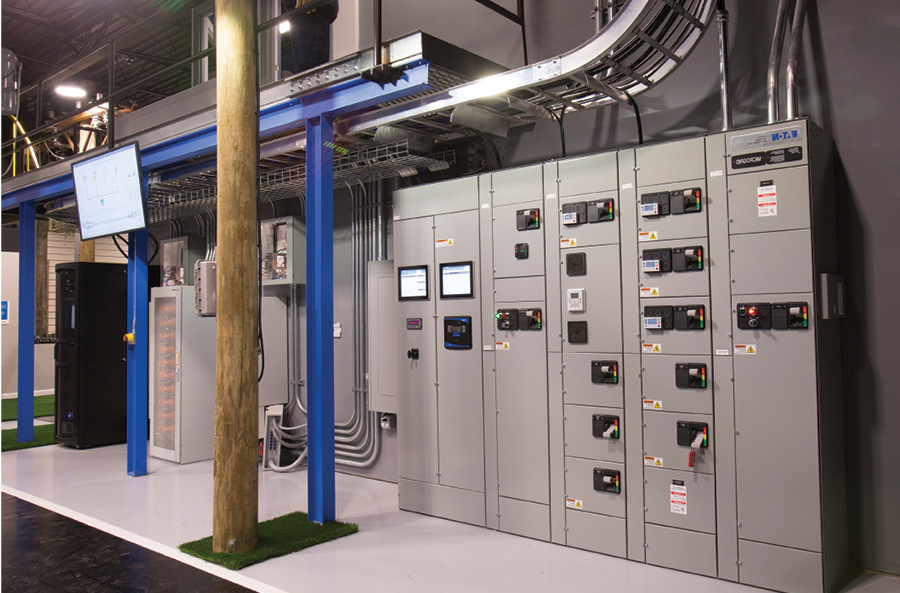 Microgrid powers Eaton's Power Systems Experience Center in Pittsburgh, incorporating solar PV, battery storage, generator and utility feed.  Image courtesy of Eaton.