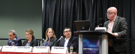 Panelists for utilities talk about hurricane response and restoration during one of the megasessions.
