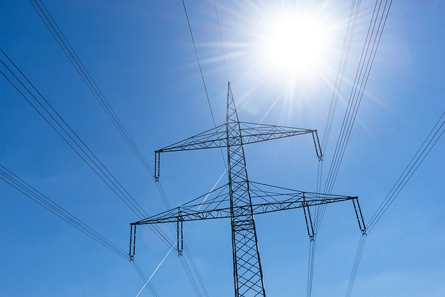Power Line with Sun Beam