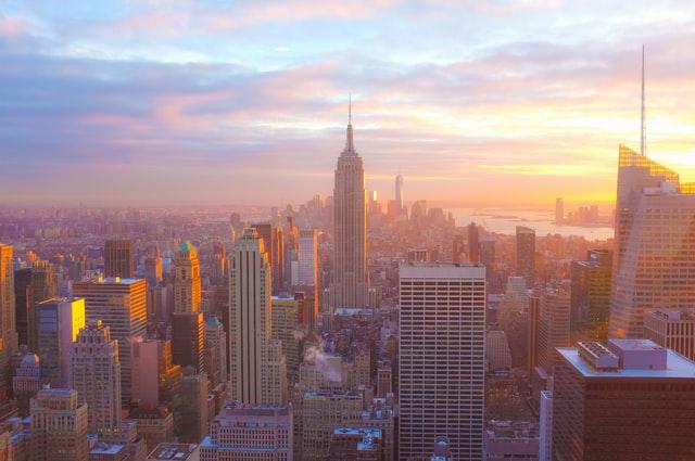 city skyline sunrise