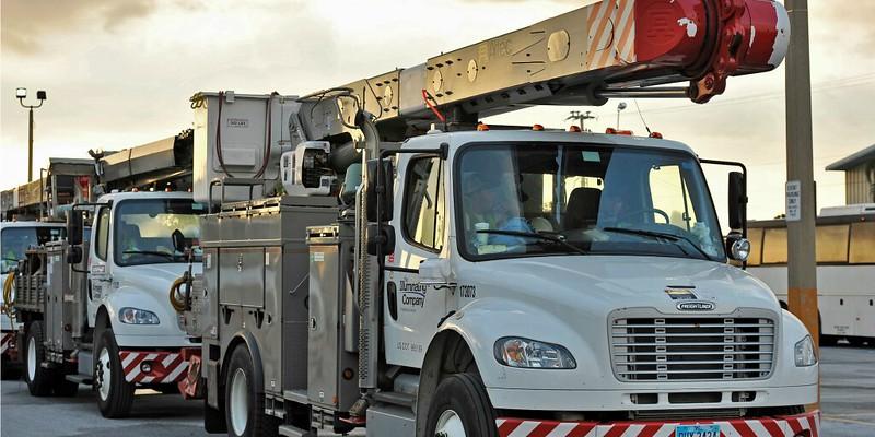 utility trucks in a line